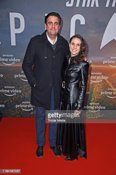 """Bastian Pastewka and his wife Heidrun Buchmaier attend the """"Star Trek: Picard"""" fan screening at Zoo Palast on January 17, 2020 in Berlin, Germany."""