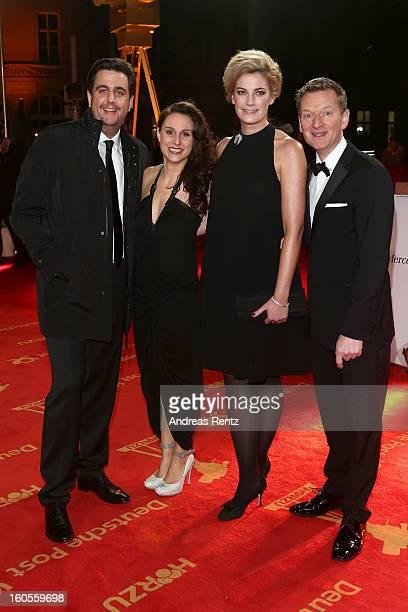 Bastian Pastewka, Heidrun Buchmaier, Constanze Darschin and Michael Kessler attend 'Goldene Kamera 2013' at Axel Springer Haus on February 2, 2013 in...