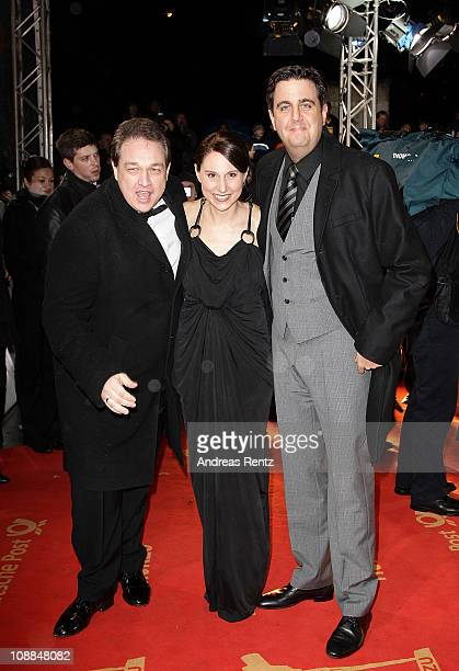 Bastian Pastewka wife Heidrun Buchmaier and Oliver Kalkofe attend the 46th Golden Camera awards at the Axel Springer Haus on February 5 2011 in...