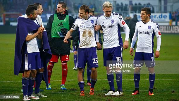 Bastian Schulz Marius Gersbeck Frank Lehmann Christian Gross Robert Kristo and Bashkim Renneke of Osnabrueck celebrate after the third league match...