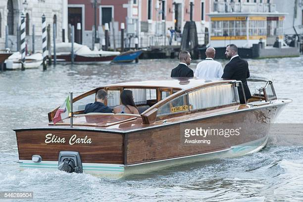 Bastian Schweinsteiger and Ana Ivanovic leaves the Aman Canal Grande hotel for dinner on July 11 2016 in Venice Italy