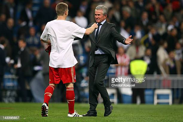Bastian Schweinsteiger and Head coach Jupp Heynckes of Bayern celebrate the 31 victory after penalty shootout after the UEFA Champions League semi...