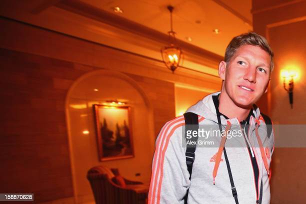 Bastian Schweinsteiger arrives at the Grand Heritage Hotel on day 1 of the Bayern Muenchen training camp on January 2 2013 in Doha Qatar
