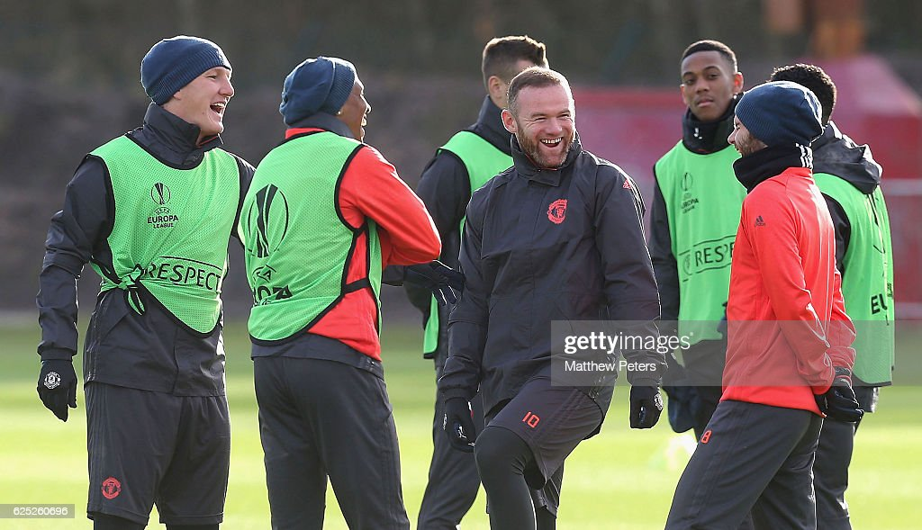Bastian Schweinsteiger, Ashley Young, Wayne Rooney and Juan Mata of Manchester United in action during a first team training session at Aon Training Complex on November 23, 2016 in Manchester, England.
