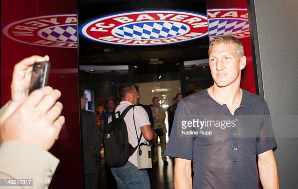 Bastian Schweinsteiger attends the FC Bayern Erlebniswelt Opening Ceremony at Allianz Arena on August 1 2012 in Munich Germany