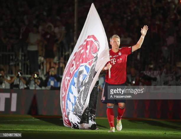 Bastian Schweinsteiger celebrates after the Friendly Match between FC Bayern Muenchen and Chicago Fire at Allianz Arena on August 28, 2018 in Munich,...