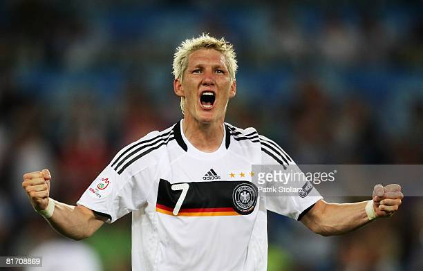 Bastian Schweinsteiger celebrates after the UEFA EURO 2008 Semi Final match between Germany and Turkey at St JakobPark on June 25 2008 in Basel...