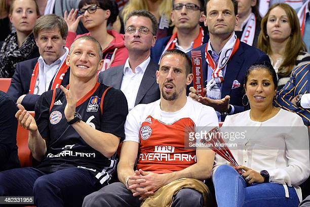 Bastian Schweinsteiger Frank Ribery and his wife Wahiba attend the the 20132014 Turkish Airlines Euroleague Top 16 Date 13 game between FC Bayern...