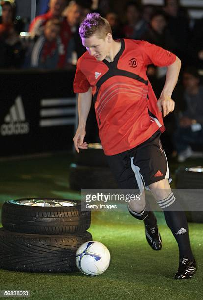 Bastian Schweinsteiger in action during the Major adidias F50 Tunit Launch Event on February 13 2006 in Munich Germany