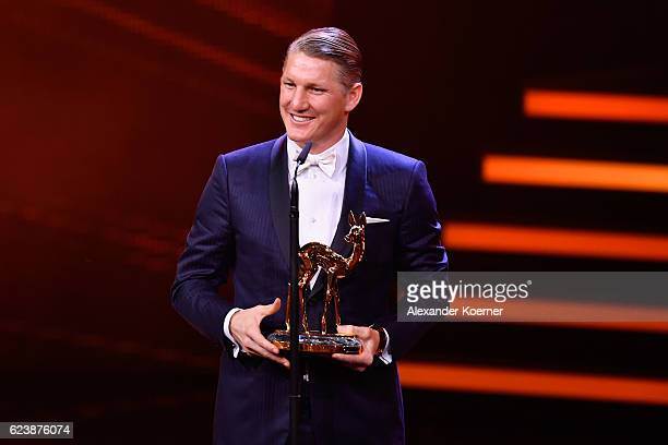 Bastian Schweinsteiger is seen on stage during the Bambi Awards 2016 show at Stage Theater on November 17 2016 in Berlin Germany