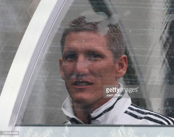 Bastian Schweinsteiger is seen prior to the international friendly match between Germany and Israel at Zentralstadion on May 31, 2012 in Leipzig,...