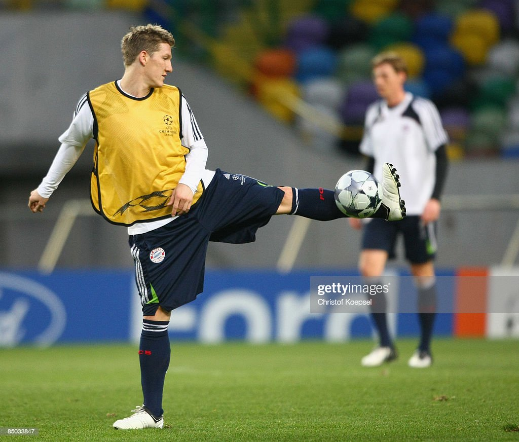Bastian Schweinsteiger juggles with the ball during the FC