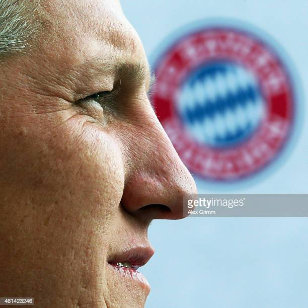 Bastian Schweinsteiger looks on during a press conference during day 4 of the Bayern Muenchen training camp at ASPIRE Academy for Sports Excellence...