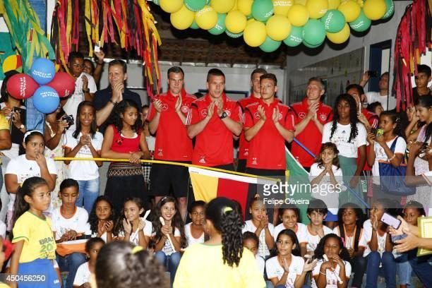 June 11: Bastian Schweinsteiger, Mesut Ozil, Lukas Podolski, Julian Draxler, Kevin Grosskreutz and Matthias Ginter of the Germany national football...