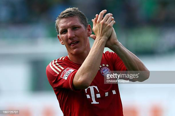 Bastian Schweinsteiger of Bayern cleebrates the 30 victory after the Bundesliga match between Greuther Fuerth and FC Bayern Muenchen at Trolli Arena...