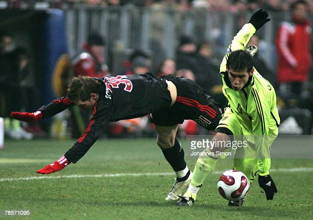 Bastian Schweinsteiger of Bayern in action with Garcia Ronald of Saloniki during the UEFA Cup Group F match between Bayern Munich and Aris Saloniki...