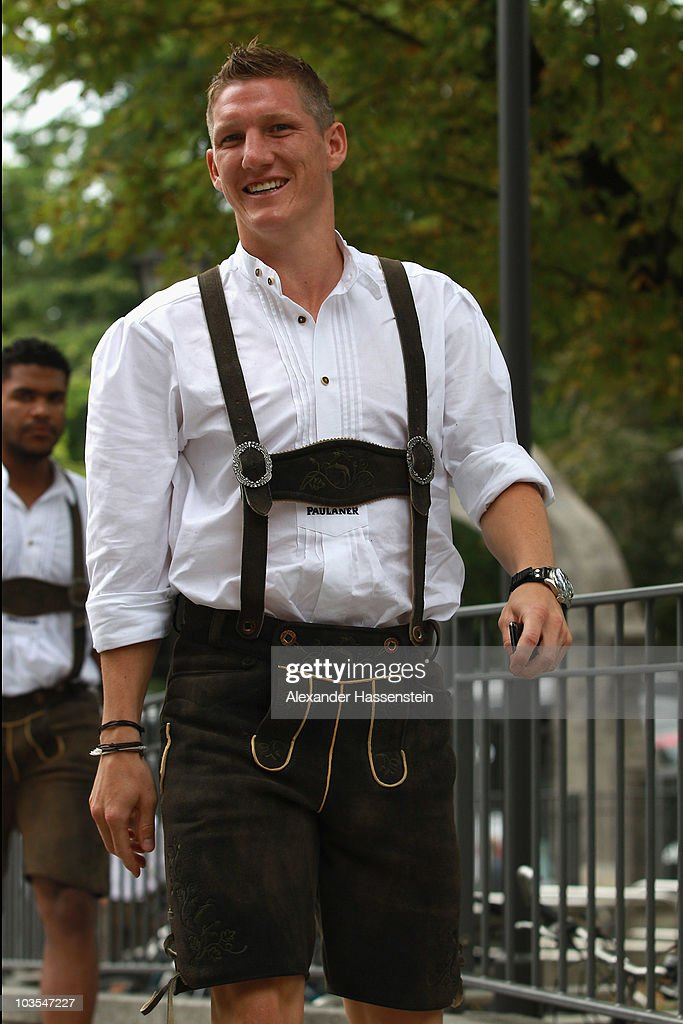 Bastian Schweinsteiger of Bayern Muenchen arrives for the Paulaner photocall at the Nockerberg Biergarden on August 23, 2010 in Munich, Germany.