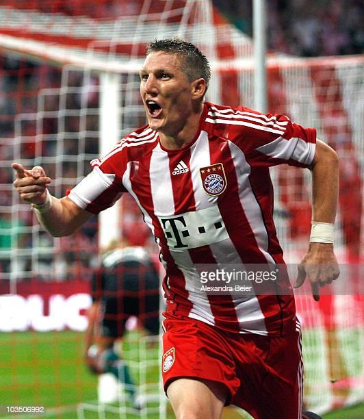 Bastian Schweinsteiger of Bayern Muenchen celebrates his goal during the Bundesliga match between FC Bayern Muenchen and VfL Wolfsburg at Allianz...