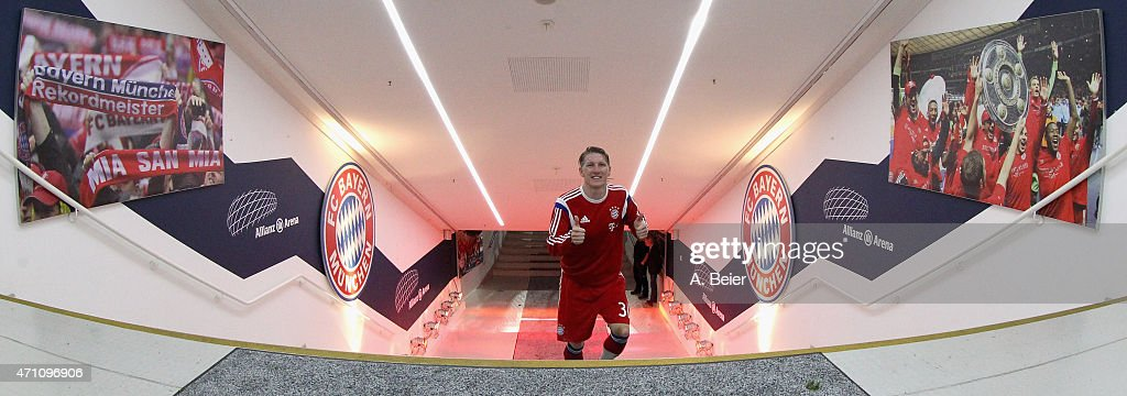 Bastian Schweinsteiger of Bayern Muenchen gives a thumb up at the players' tunnel after his team's victory of the Bundesliga match between FC Bayern Muenchen and Hertha BSC at Allianz Arena on April 25, 2015 in Munich, Germany.