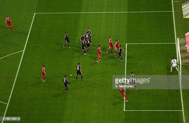 Bastian Schweinsteiger of Bayern Muenchen shoots a freekick and scores the second goal during the Bundesliga match between FC Bayern Muenchen and...