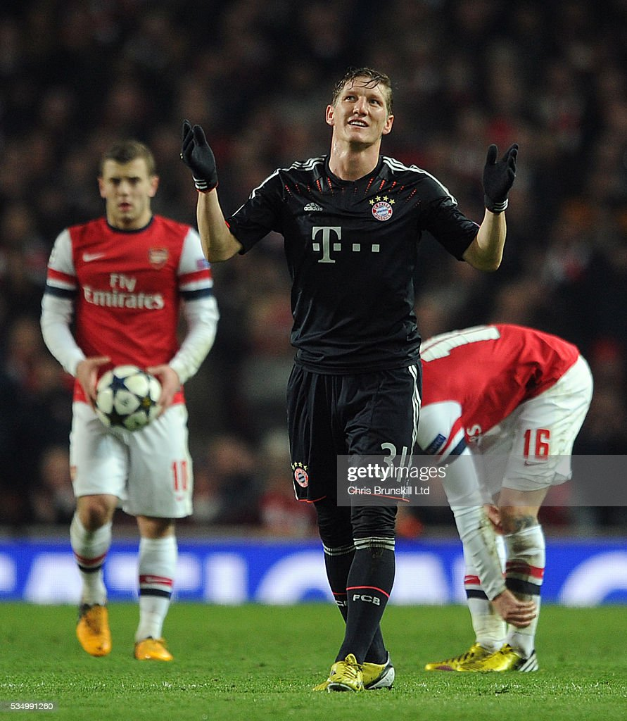 Uefa Champions League Round Of: Bastian Schweinsteiger Of Bayern Munich Reacts After Being