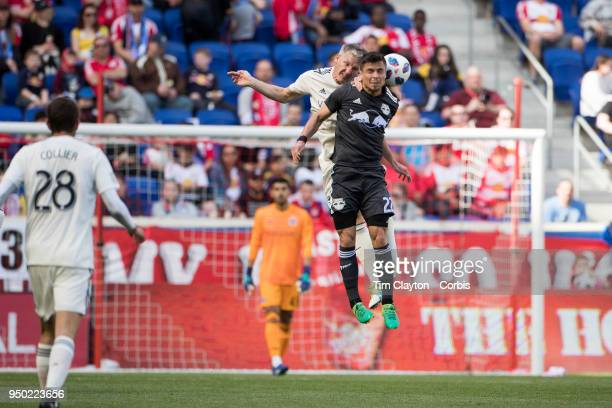 Bastian Schweinsteiger of Chicago Fire and Florian Valot of New York Red Bulls challenge for the ball during the New York Red Bulls Vs Chicago Fire...