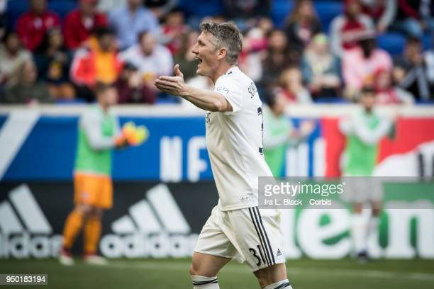 Bastian Schweinsteiger of Chicago Fire argues with the referee during the Major League Soccer match between Chicago Fire and New York Red Bulls at...