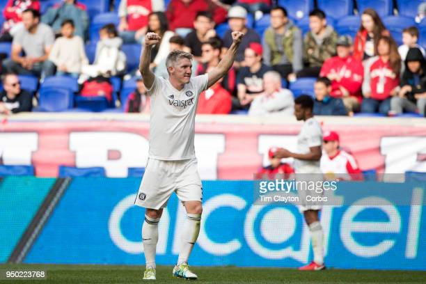 Bastian Schweinsteiger of Chicago Fire celebrates his sides 21 win at the final whistle during the New York Red Bulls Vs Chicago Fire MLS regular...