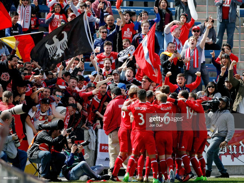 Bastian Schweinsteiger #31 of Chicago Fire celebrates with teammates and fans after scoring a goal against the Montreal Impact during first half at Toyota Park on April 1, 2017 in Bridgeview, Illinois.