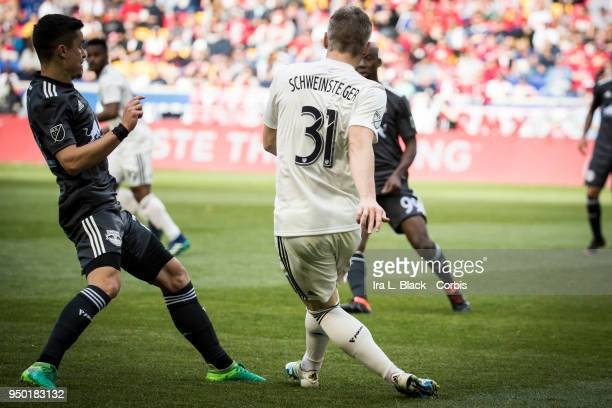 Bastian Schweinsteiger of Chicago Fire clears the ball during the Major League Soccer match between Chicago Fire and New York Red Bulls at Red Bull...