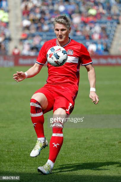 Bastian Schweinsteiger of Chicago Fire controls the ball against the Montreal Impact during the first half at Toyota Park on April 1 2017 in...