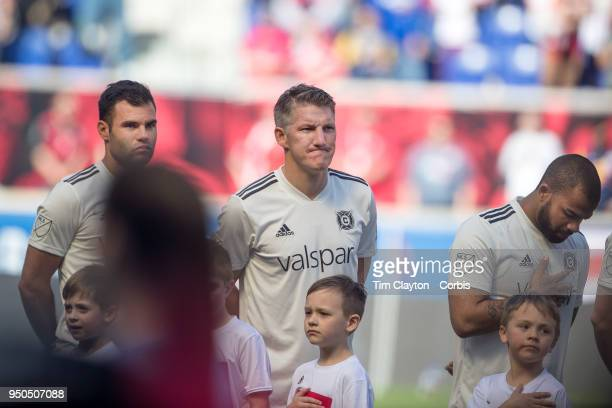 Bastian Schweinsteiger of Chicago Fire during team presentations and the National Anthem before the New York Red Bulls Vs Chicago Fire MLS regular...