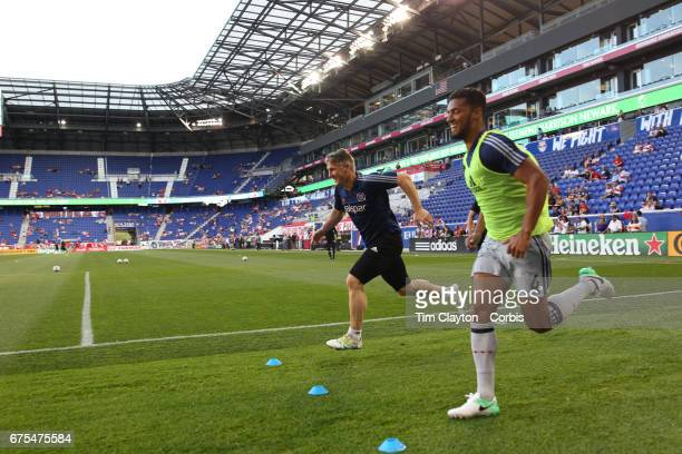 Bastian Schweinsteiger of Chicago Fire during warm up before the New York Red Bulls Vs Chicago Fire MLS regular season match at Red Bull Arena...