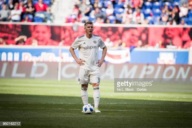 Bastian Schweinsteiger of Chicago Fire eyes the opportunity across the pitch during the Major League Soccer match between Chicago Fire and New York...