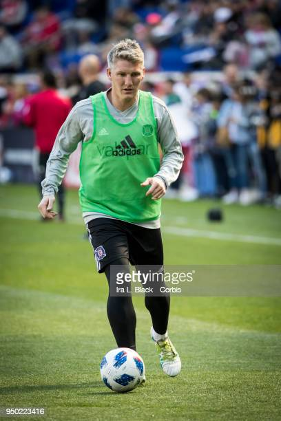 Bastian Schweinsteiger of Chicago Fire kicks the ball during warm ups during the Major League Soccer match between Chicago Fire and New York Red...