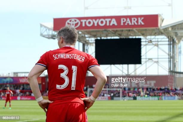 Bastian Schweinsteiger of Chicago Fire prepares to take a free kick in the second half against the Montreal Impact during an MLS match at Toyota Park...