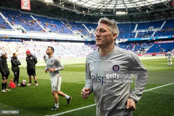 Bastian Schweinsteiger of Chicago Fire warms up before the Major League Soccer match between Chicago Fire and New York Red Bulls at Red Bull Arena on...