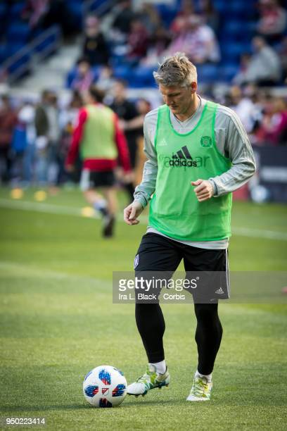 Bastian Schweinsteiger of Chicago Fire warms up during the Major League Soccer match between Chicago Fire and New York Red Bulls at Red Bull Arena on...
