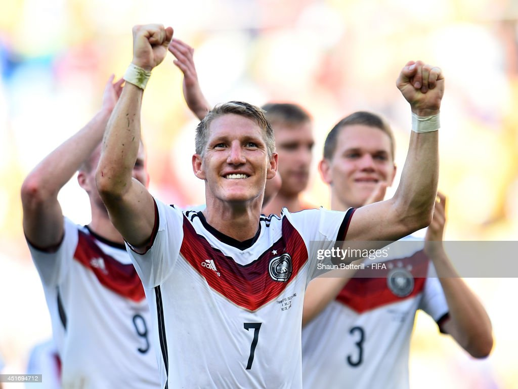 Bastian Schweinsteiger of Germany celebrates the 1-0 win after the 2014 FIFA World Cup Brazil Quarter Final match between France and Germany at Maracana on July 4, 2014 in Rio de Janeiro, Brazil.