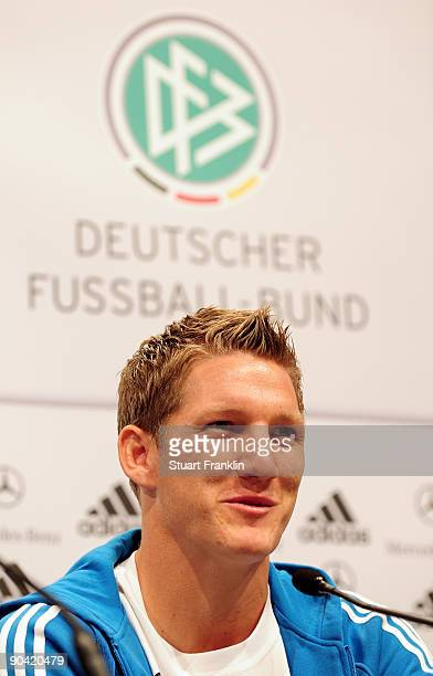 Bastian Schweinsteiger of Germany during the DFB press conference at the Guerzenich on September 7 2009 in Cologne Germany