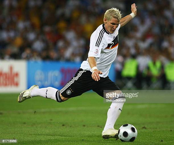 Bastian Schweinsteiger of Germany in action during the UEFA EURO 2008 Semi Final match between Germany and Turkey at St. Jakob-Park on June 25, 2008...