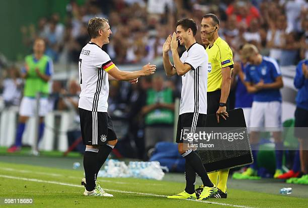 Bastian Schweinsteiger of Germany is substituted for Julian Weigl during the International Friendly match between Germany and Finland at BorussiaPark...