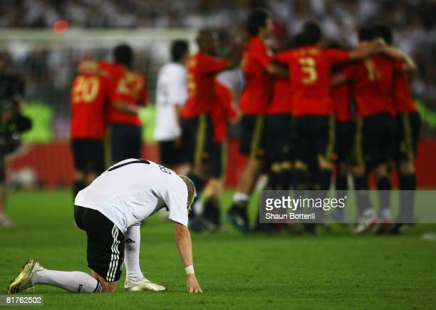 Bastian Schweinsteiger of Germany looks dejected following the UEFA EURO 2008 Final match between Germany and Spain at Ernst Happel Stadion on June...