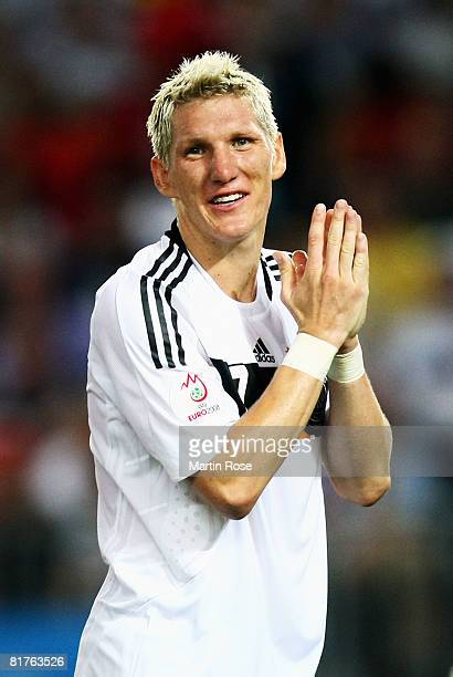 Bastian Schweinsteiger of Germany looks on after the UEFA EURO 2008 Final match between Germany and Spain at Ernst Happel Stadion on June 29, 2008 in...