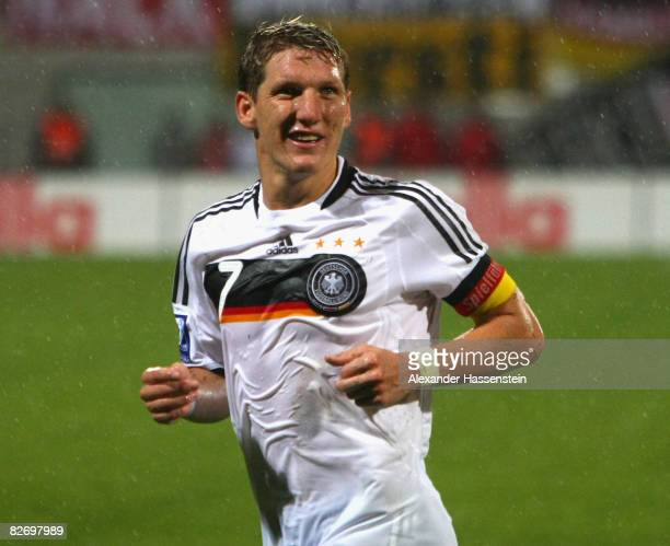 Bastian Schweinsteiger of Germany looks on during the FIFA 2010 World Cup Group Four Qualifying match between Liechtenstein and Germany at the...