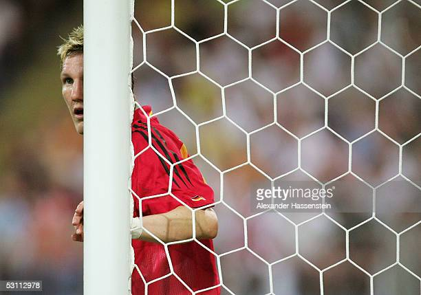 Bastian Schweinsteiger of Germany looks on during the FIFA Confederations Cup 2005 match between Argentina and Germany at the Frankenstadium on June...