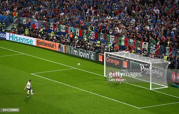 Bastian Schweinsteiger of Germany misses at the penalty shootout during the UEFA EURO 2016 quarter final match between Germany and Italy at Stade...