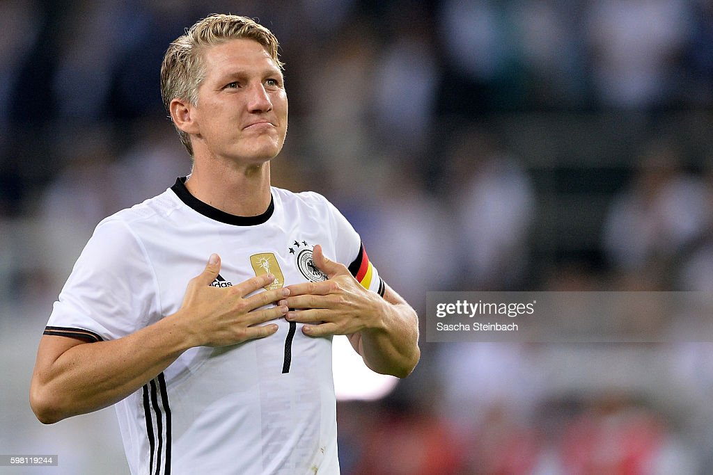 Bastian Schweinsteiger of Germany reacts after the international friendly match between Germany and Finland at Borussia-Park on August 31, 2016 in Moenchengladbach, Germany.
