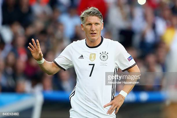 Bastian Schweinsteiger of Germany reacts during the UEFA EURO 2016 round of 16 match between Germany and Slovakia at Stade Pierre-Mauroy on June 26,...