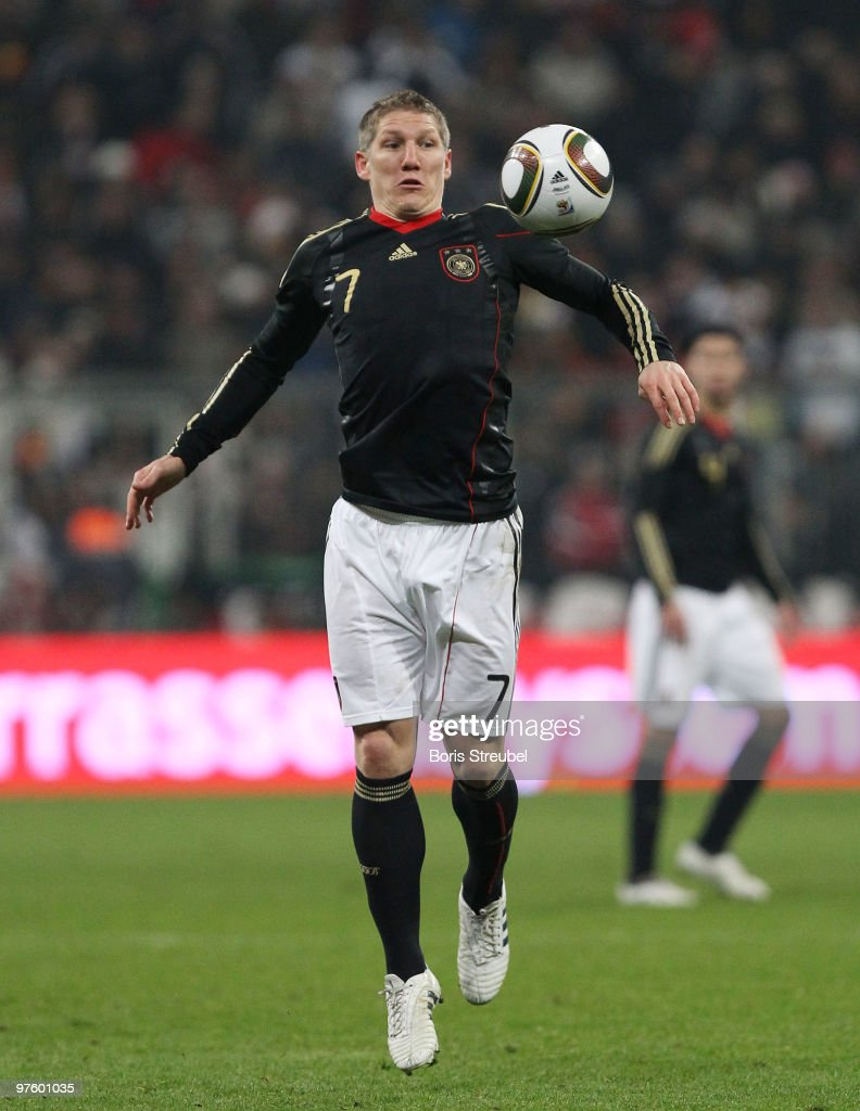 Bastian Schweinsteiger of Germany runs with the ball during the International Friendly match between Germany and Argentina at the Allianz Arena on March 3, 2010 in Munich, Germany.